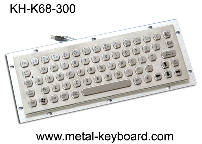 Vandal Resistance Metal Computer Keyboard / 65 Keys Touchpad Stainless Steel Keyboard