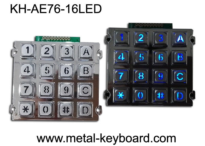 Illuminated Indoor Access Control Metal Keypad with 16 Back - light Keys