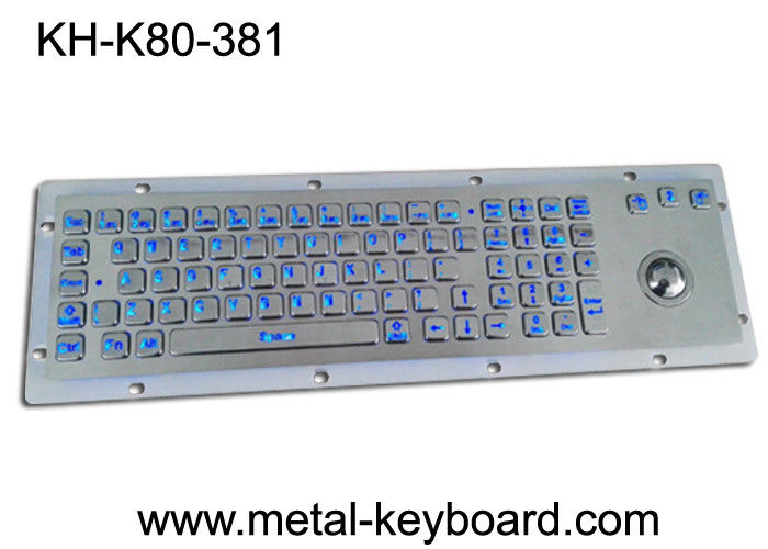 LED 80 keys Backlit dust proof keyboard with Trackball mouse , metal keyboard for dark conditions